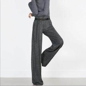 NEW Zara Wide Leg Herringbone Gray Trousers Pants